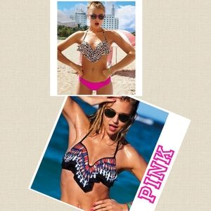 Two VS Pink Flounce Plunge Push Up Swim Tops